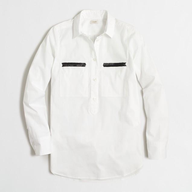 Beaded chevron popover shirt