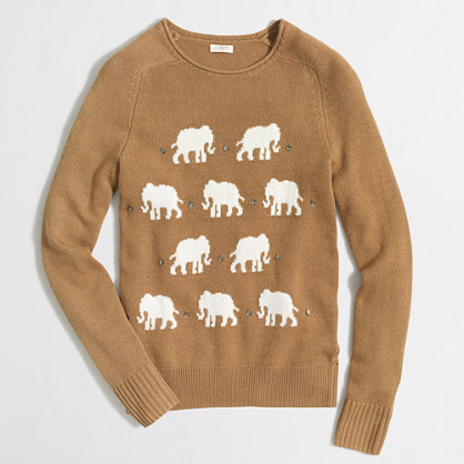 Jeweled elephant sweater
