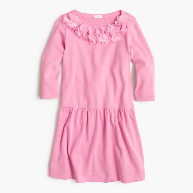 Girls' floral-trim T-shirt dress