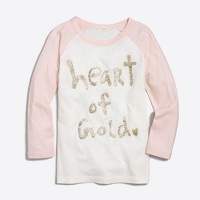 Girls' heart of gold baseball keepsake T-shirt