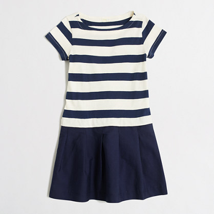 Girls' sailor-striped mixed-fabric dress