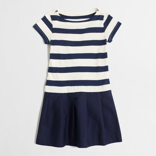 Girls' sailor-striped mixed-fabric dress