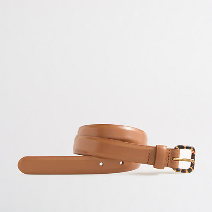 Leather belt with tortoiseshell buckle