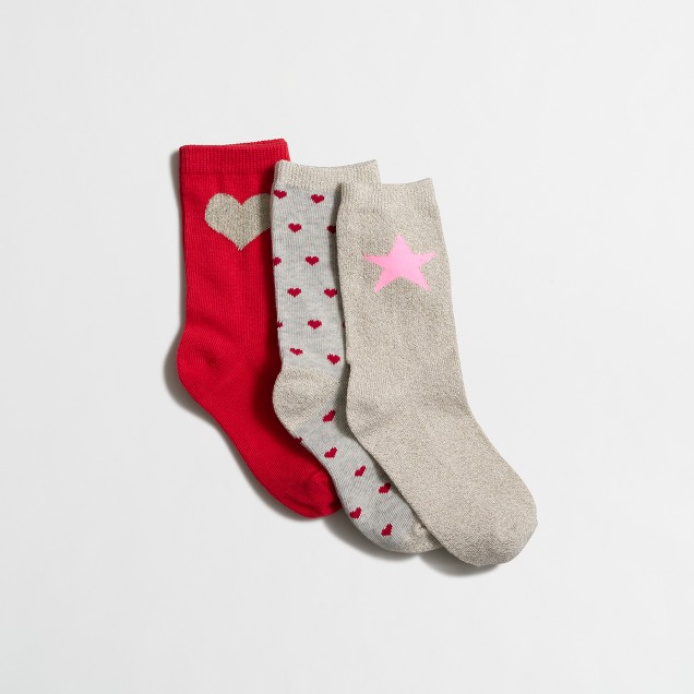 Girls' patterned socks three-pack