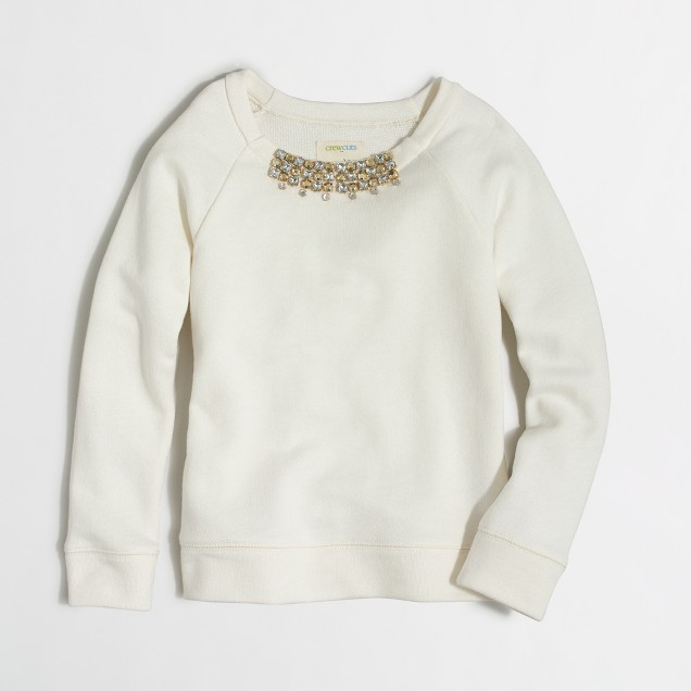 Girls' jeweled necklace sweatshirt