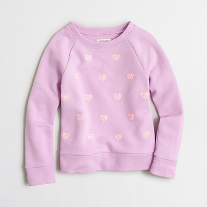 Girls' sequin hearts sweatshirt