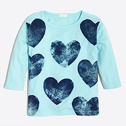 Factory girls' three-quarter-sleeve printed hearts T-shirt