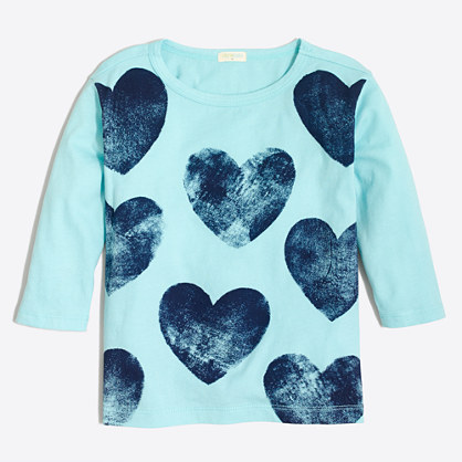 Girls' three-quarter-sleeve printed hearts T-shirt