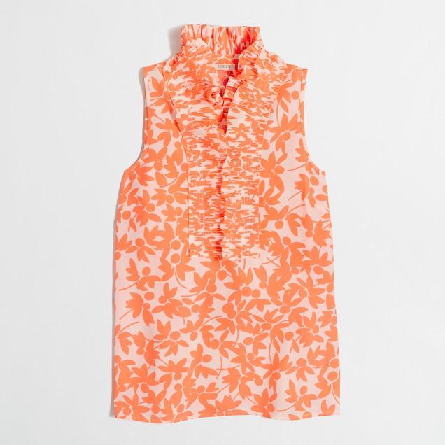 Printed ruffle-collar cami top