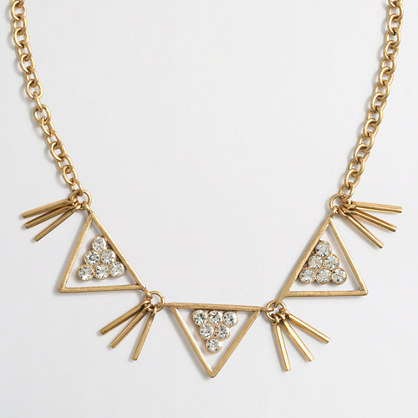 Metal and crystal shapes necklace