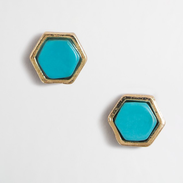 Stone hexagon stud earrings