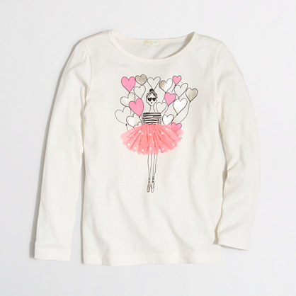 Girls' long-sleeve ballerina with balloons keepsake T-shirt