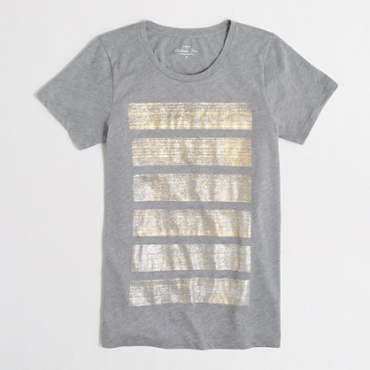 Metallic stripes collector T-shirt in airy cotton