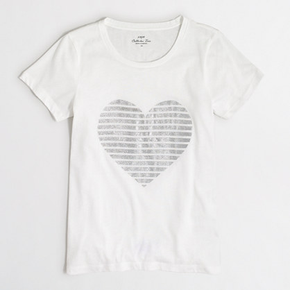 Glitter heart collector T-shirt in airy cotton