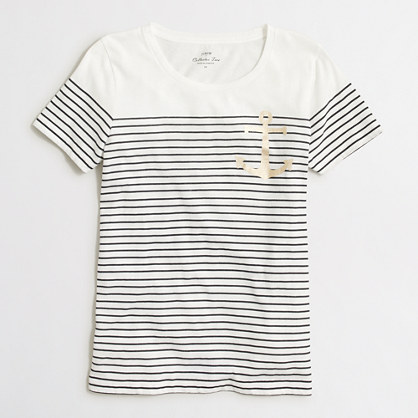 Anchor striped collector T-shirt in airy cotton