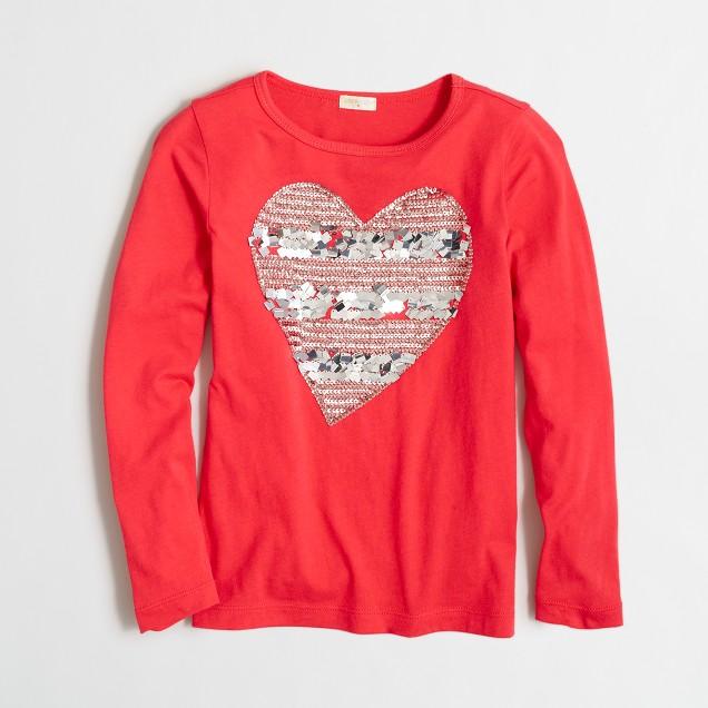 Girls' long-sleeve striped sequin heart keepsake T-shirt
