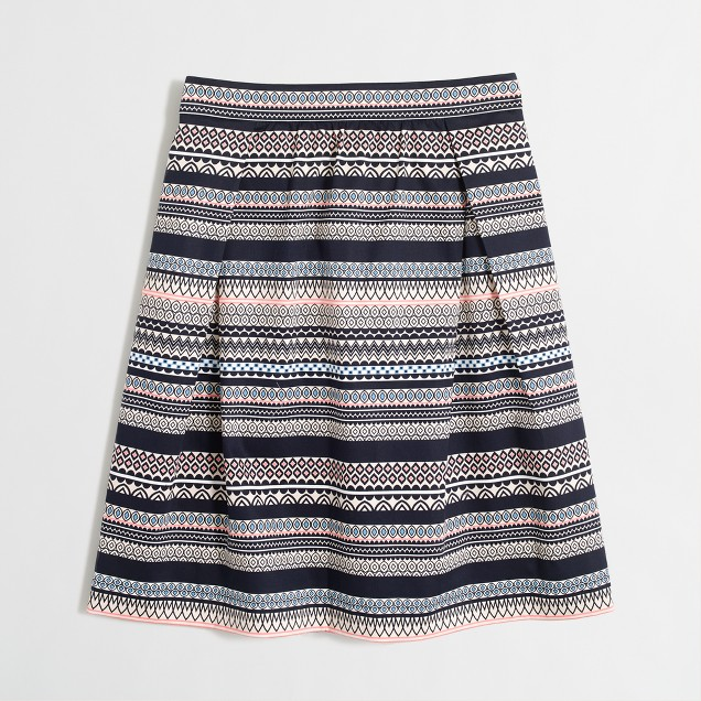 Printed sateen skirt