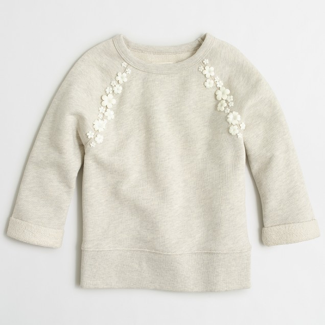 Girls' floral-accent raglan sweatshirt