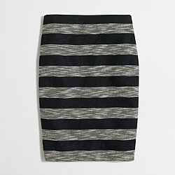 Factory striped jacquard pencil skirt