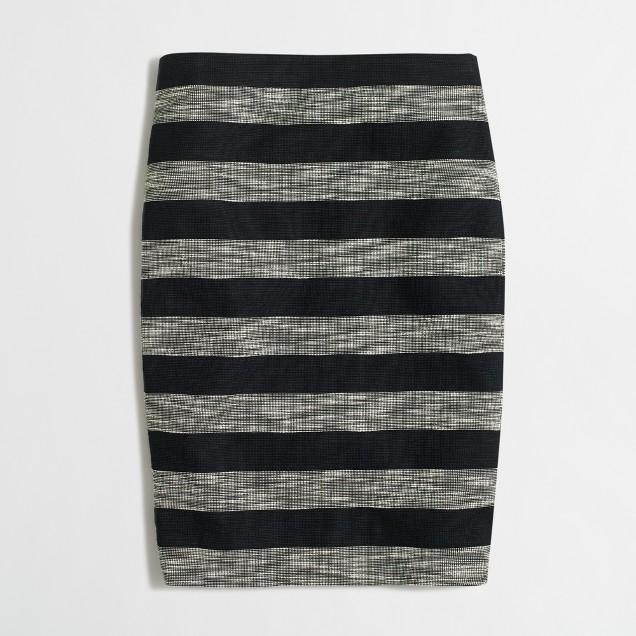 Petite striped jacquard pencil skirt