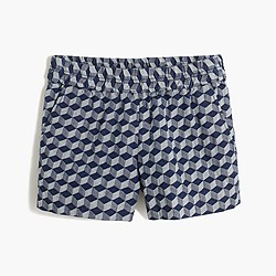"Factory 3"" boardwalk pull-on short in geometric print"