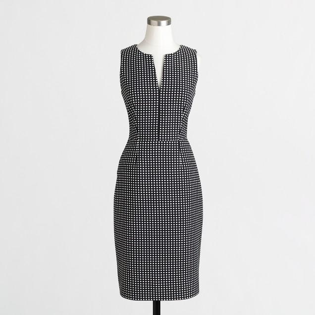 Textured-dot split-neck dress