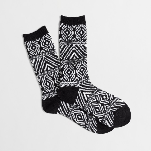 Geometric-striped trouser socks