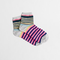 Multicolored-striped ankle socks