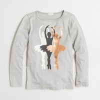 Girls' long-sleeve foil ballerinas baseball keepsake T-shirt