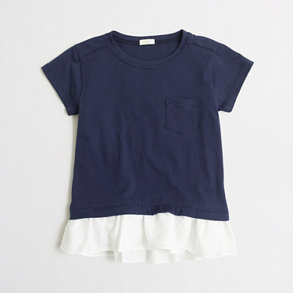 Girls' ruffle-hem T-shirt