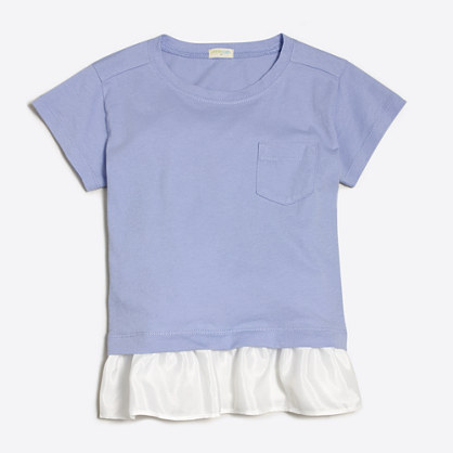 Girls' ruffle-hem T-shirt