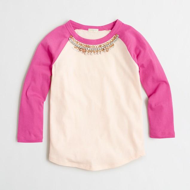 Girls' long-sleeve necklace baseball T-shirt
