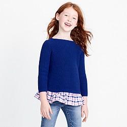 Girls' ruffle-hem popover sweater