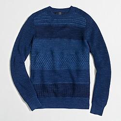 Factory textured cotton patchwork crewneck sweater