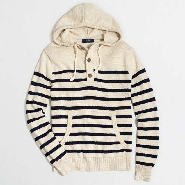 Tall striped henley hoodie