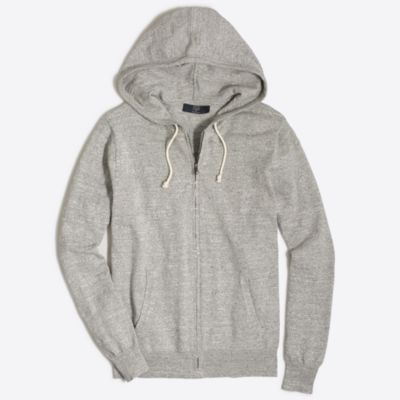 Full-zip textured cotton hoodie