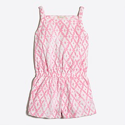 Girls' printed terry romper