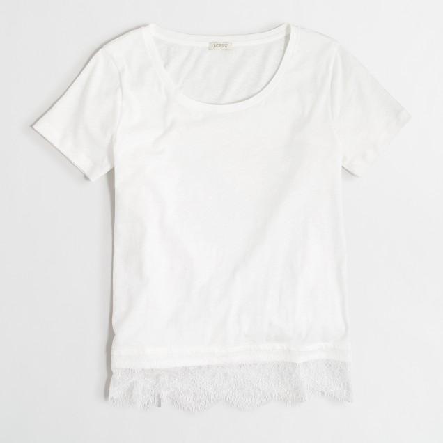 Lace-hem T-shirt
