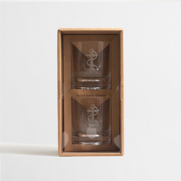 Etched acrylic anchor tumblers