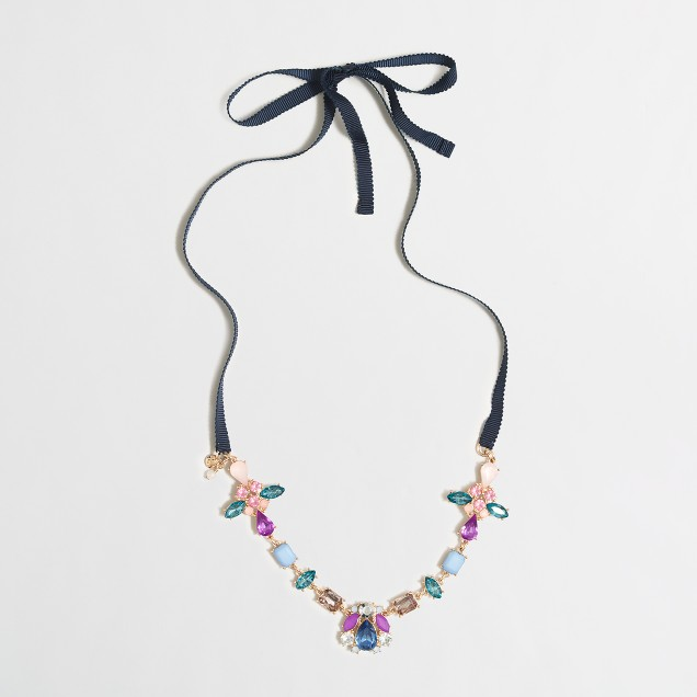 Girls' jewels and ribbon statement necklace