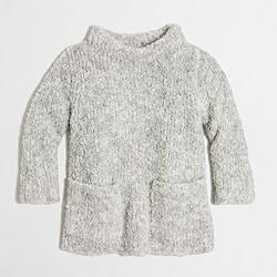 Girls' fuzzy mockneck popover sweater