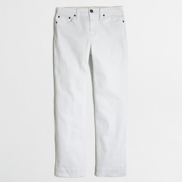 White high-rise cropped straight jean