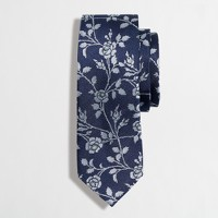 Floral embroidered silk tie