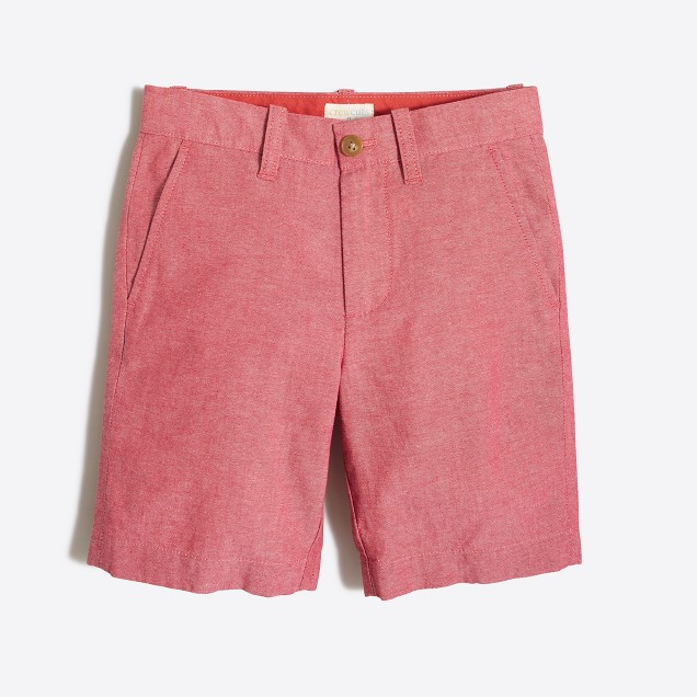 Boys' Gramercy short in red chambray