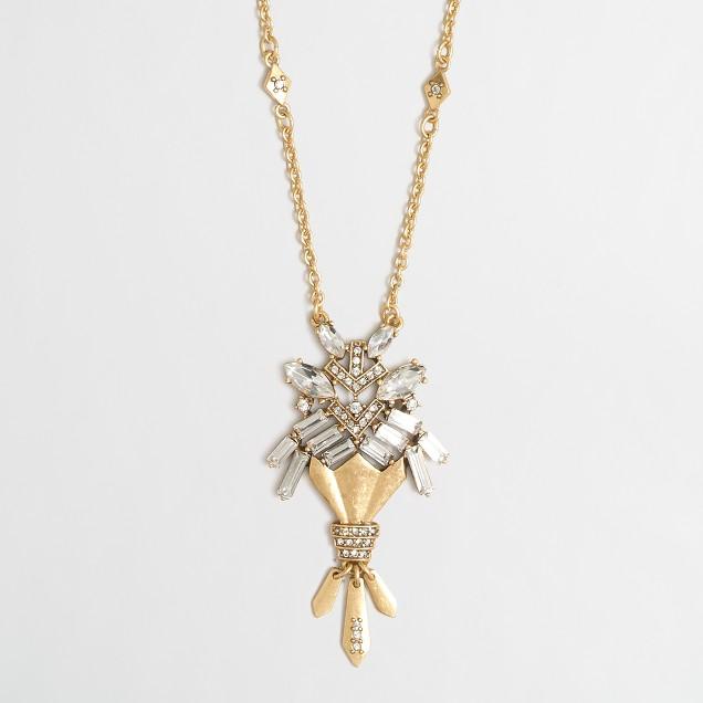 Crystal bouquet pendant necklace
