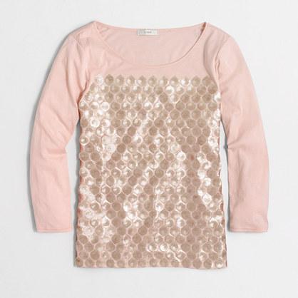 Sequin-panel T-shirt