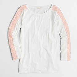 Factory lace-trim long-sleeve T-shirt