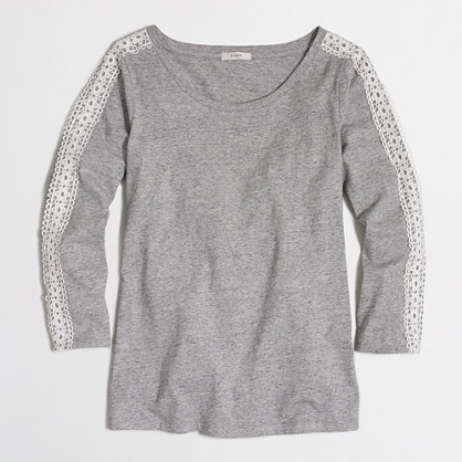 Lace-trim long-sleeve T-shirt