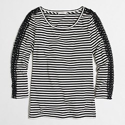 Factory striped lace-sleeve T-shirt