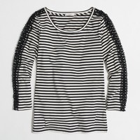 Striped lace-sleeve T-shirt